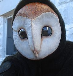 """Barn Owl Mask... more disturbing than most """"monster"""" masks. That is a face that really screams  PREDATOR!"""