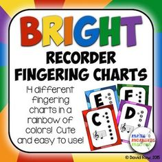 Bright Recorder Fingering Charts In A Rainbow Of Colors  The O