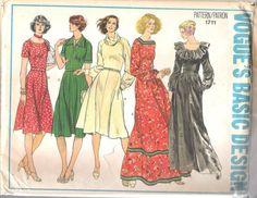 Vogue 1711 Vintage 1970's Misses' Peasant Dress in Knee or Floor Length UNCUT; Size 12, Bust 34