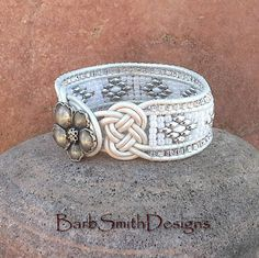 25% OFF White Leather Cuff Bracelet Josephine by BarbSmithDesigns