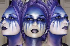 Luminous blue make up mask Alien Makeup, Fx Makeup, Love Makeup, Beauty Makeup, Amazing Makeup, Blue Face Paint, Muse, Fantasy Make Up, Character Makeup