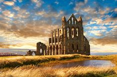 Medieval Gothic Whitby Abbey at sunset, Whitby, North Yrokshire, England. See more inspiring Travel images at © 2019 Paul Williams, photographer. Yorkshire England, North Yorkshire, Yosemite Camping, Go Camping, Travel Images, Travel Pictures, Medieval Gothic, Medieval Castle, Nature