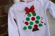 Baby Girl Christmas Tree Onesie - hand cut applique red and green polka dot Christmas tree topped with a beautiful bow