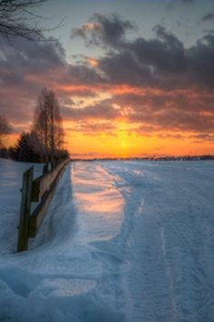 Sunset On Country Fence Line