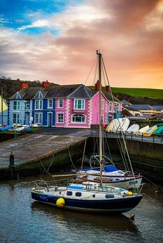 A fiery sky sets over the colourful Welsh town of Aberaeron, Wales