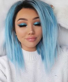 Starry Sky - Black Roots - Straight Version - UniWigs Official Site - May 11 2019 at Hair Dye Colors, Ombre Hair Color, Cool Hair Color, Blue Ombre, Pastel Blue, Dark Blue Hair, Blue Wig, Blonde And Blue Hair, Lilac Hair