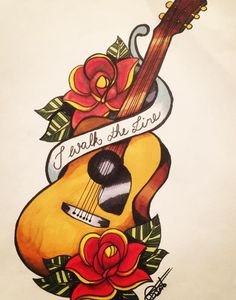 Music Tattoos, Cute Tattoos, Body Art Tattoos, Sleeve Tattoos, Flower Tattoos, Guitar Tattoo, Guitar Art, Flame Picture, Art Sketches