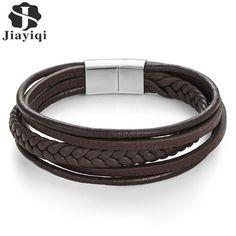 Jiayiqi Moda Cuero Genuino Pulsera de Los Hombres de Acero Inoxidable  Pulseras de Cuerda Trenzada Cadena b2df24ac42d8
