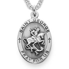 Sterling Silver Oval Saint George Patron of Soldiers Medal 78 Inch ** Details can be found by clicking on the image.Note:It is affiliate link to Amazon.