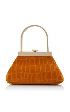 Estelle Mini Croc-Embossed Leather Top Handle Bag by Cult Gaia Womens Designer Bags, Vintage Purses, New Bag, Purses And Bags, Women's Bags, Evening Bags, Clutch Bag, Leather Bag, Patent Leather