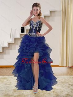 High Low Navy Blue Sweetheart Prom Dresses with Beading and Embroidery QDZY319TZBFOR