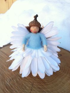 White and Blue flower fairy by LightofdayCreations on Etsy