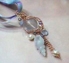 Lavender Jadeit Jade carved Seashell Saltwater Pearl Blue Chalcedony Rose Quartz Amethyst 14kt Rose Pink Goldfill Silk Ribbon Necklace. $262.00, via Etsy.