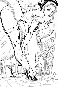 Grimm Fairy Tales : Wonderland inks by J-Skipper on DeviantArt Coloring Pages To Print, Coloring Book Pages, Pin Up, Comic Book Artists, Comic Artist, Jordi Bernet, J Scott Campbell, Illustrator Cs6, Fairytale Fantasies
