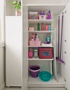 Bathroom Organization Storage Cabinet Doors 45 New Ideas Laundry Room Doors, Laundry Closet, Small Laundry Rooms, Cleaning Closet, Linen Closet Organization, Home Organisation, Bathroom Organization, Organizing Ideas, Utility Room Storage