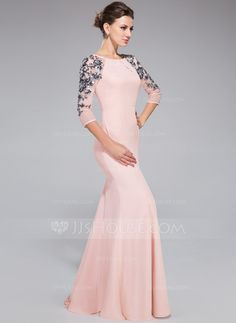 Trumpet/Mermaid Scoop Neck Floor-Length Chiffon Tulle Evening Dress With Ruffle Sequins (017041144)