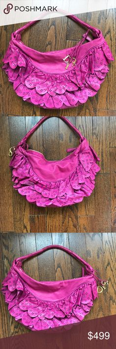 DIor Ruffle Hobo Bag Hot Pink Christian Dior ruffle hobo bag great condition barely used! Christian Dior Bags Shoulder Bags