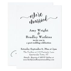 Subtle Elegant Typography Post Wedding Celebration Card - personalize design idea new special custom diy or cyo Typography Wedding Invitations, Unique Wedding Invitations, Elegant Wedding Invitations, Invitation Card Party, Invitation Card Design, Gifts For Wedding Party, Wedding Cards, Party Gifts, Marriage Gifts