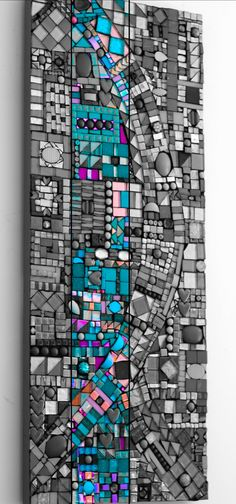 Mosaic turquoise and shades of grey