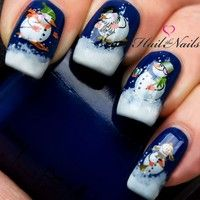 Wish | Christmas Nail Wraps Water Transfers Decal Nail Art Y135 Snowmen Salon Quality