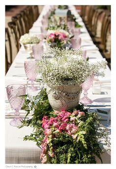 Wedding long table arrangements at Elawa Farm Lake Forest Summer Wedding  - Dawn E Roscoe Photography
