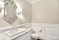 Stunning Sherwin-Williams Accessible Beige Powder Room Design Ideas and Photos - Zillow Digs