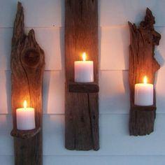 wandkandelaar op hout