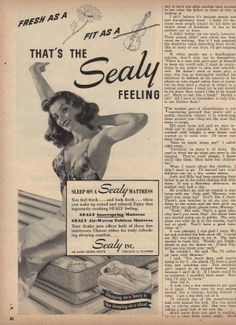 Vintage 1947 Sealy Feeling Fresh 1/2Page Print Ad #sealy #sleep #beds #mattresses