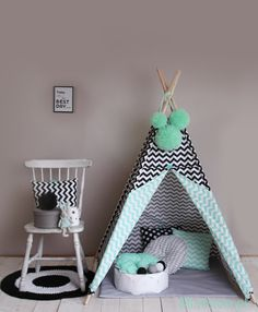 Teepee Set Kids Play Tent Tipi Black&White Kids by Mintistore