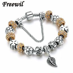 Home Spinner Sliver Plated Shape Four Leaf Clover Charm Beads Fit Pandora Bracelets For Women Diy Beads Gift