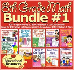 Start your Math Units with these Engaging visual math tasks and activities to teach your 8th grade math curriculum or as a review with 9th Grade math students!  Perfect for Interactive Notebooks, Stations, Cooperative Learning, Differentiation, & MORE!