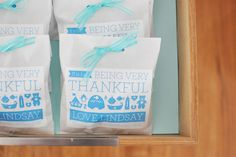 "B is for Being very thankful - shower favors.  I liked the ""being very thankful"" line - it went off well and was well received."