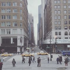View from the steps of the New York Public Library - looking east on 40th Street & Fifth Avenue