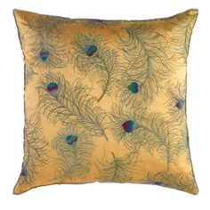 I know my nephews wife would adore this peacock feather pillow!
