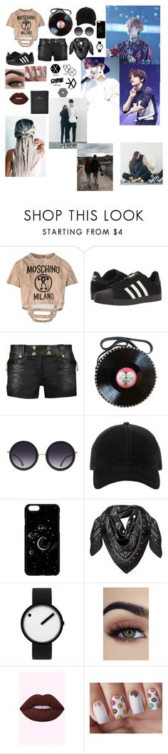 """•Baekhyun•"" by living4aesthetic ❤ liked on Polyvore featuring Moschino, adidas, Just Cavalli, Alice + Olivia, rag & bone, MCM, Rosendahl and FOSSIL"
