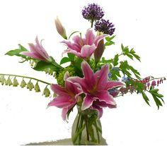 arrangement with bleeding hearts & stargazer lilies