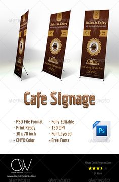 Cafe Signage Banner — Photoshop PSD #cafe #energy • Available here → https://graphicriver.net/item/cafe-signage-banner/4427025?ref=pxcr