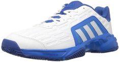 adidas Performance Men's Barricade Court 2 Tennis Shoe,White/White/Shock Blue,9.5 M US