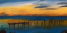 "Oil painting titled ""Chesapeake Sunrise"", done on an 18"" x 36"" x 1.5"" canvas. Frame not required, painted image wraps around. Available at www.etsy.com/shop/apaintedcanvas"