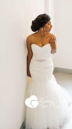 Stunning bride Amanda in her mermaid white wedding dress for her Nigerian wedding for church wedding.