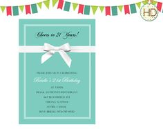 9 best tiffany blue invitations images on pinterest tiffany blue cheers to 21 years turquoise blue birthday by hdinvitations filmwisefo