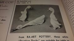 """Known as the three """"Drunken Ducks"""" these figurines range from 9"""" - 13 1/2"""" inches and are part of Hickman's pottery ceramics that were accented in Coin Gold.  Photo reference from September 1937 issue of """"The Gift and Art Buyer"""" Magazine. Contact nylesg@outlook.com or billtd@yahoo.com if ever you find any one of them."""