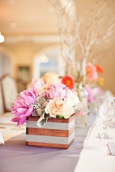 Garden rose and peony centerpieces from Brooke Images - LOVE the boxes!!