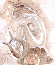 Sad lonely Sappho coffee painting by Chirila Corina Framed Prints, Canvas Prints, Art Prints, Sad And Lonely, Coffee Painting, Artist Painting, Wall Tapestry, Decorative Throw Pillows, Art Boards