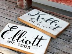 Handcrafted Personalized Family Name and Established Year Signs by mytreehousetreasures on Etsy