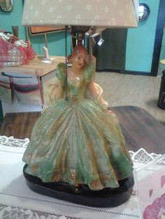 Wedding Gift Chalkware Gone with the Wind style Lady Figurine Figure Table Top Lamp Light by TheRustyBucketVT on Etsy