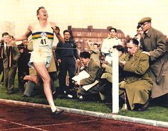 Roger Bannister on 6th of May 1954, breaking the 4 minute barrier for the mile.