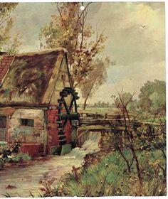 Vintage Calendar Art Old Mill Water Wheel by AtticBasement on Etsy, $9.00