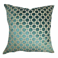 "Showcasing a geometric motif, this chic turquoise-hued velvet pillow brings eye-catching style to your living room or den. Made in the USA.   Product: PillowConstruction Material: Velvet cover and down fillColor: TurquoiseFeatures:   Insert includedHidden zipper closureMade in Boston, Massachusetts Dimensions: 18"" x 18""Cleaning and Care: Spot clean"