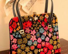 Vintage Carpet Bag Purse Colorful Handbag retro 1960s Tapestry on etsy.com